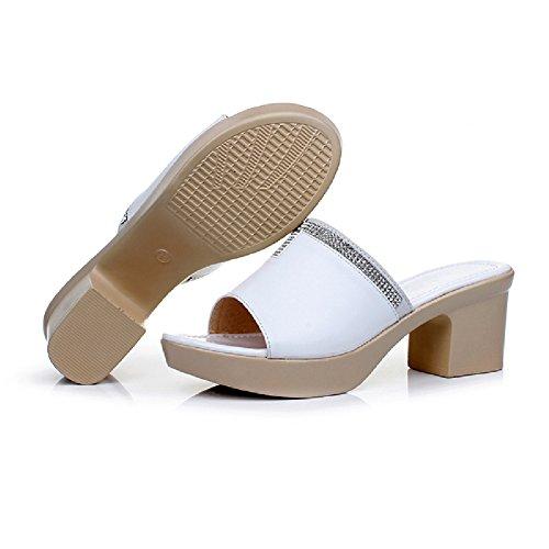 Btrada White Casual Sandals Womens Heel Shoes Slides Block Platform 8r8aqp