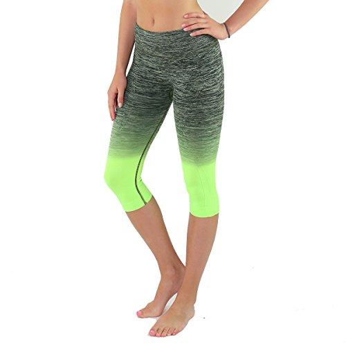 ef26f6f8b3893e Women's Three Quarter Tights - High Waist Workout Leggings - Cropped  Compression Fit Fashion Apparel - Super Soft Stretchy Opaque ¾th Yoga Pants  (L, ...