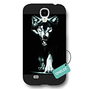 Onelee(TM) - Winter Moon Howling Wolf Samsung S4 Hard Plastic Case - Wild Animal Wolves Galaxy S4 Frosted Cover - Black 10