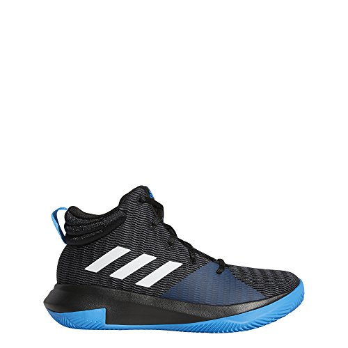 adidas Unisex Pro Elevate 2018 Basketball Shoe, Black/White/Bright Blue, 6 M US Big Kid
