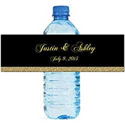"100 Black & Gold Glitter Wedding Anniversary Engagement Party Water Bottle Labels 8""x2"""