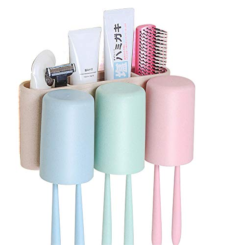 GDAE10 Toothbrush Holder,No Drill Natural Wheat Straw Cup Hanger with 3 Cups Electric Toothbrush Storage Set for Rinse Cup and Toothpaste for Bathroom Storage