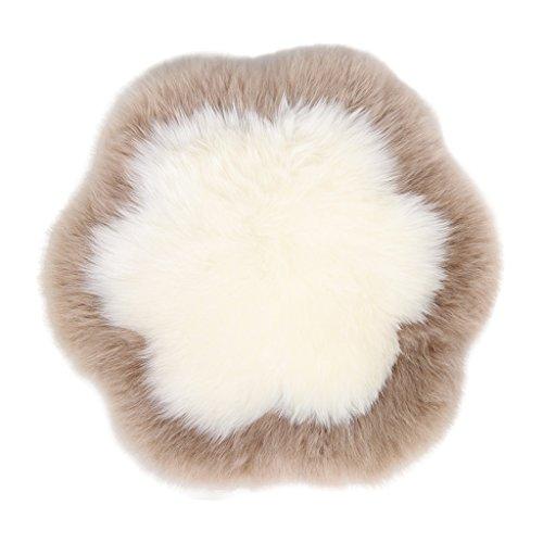 Poufs Australian sheepskin mats winter sofa cushions warm cushion thicker chair pad cute cushion round pad (Color : Brown, Size : 5050cm)