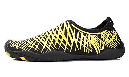 Lanbaosi Heren Watersport Barefoot Schoenen Lichtgewicht Aqua Sokken Voor Zwemmen Yoga Geel