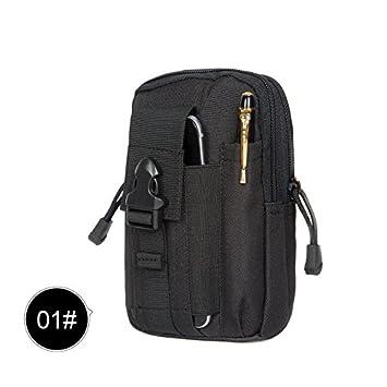 Riñonera impermeable multifuncional de tela Oxford de Aubess, bolsa táctica compacta para uso al aire libre, portátil, bolsa de cintura con soporte para teléfono móvil negro negro