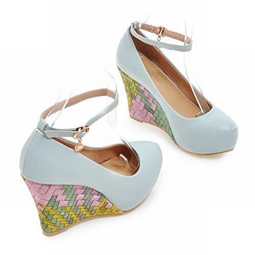 Charm Foot Womens Zeppa Dolce Piattaforma Tacco Alto Cinturino Alla Caviglia Scarpe Blu