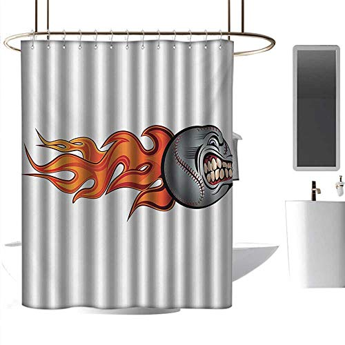 (homehot Shower Curtains Fabric Without Hooks Sports,Flaming Angry Baseball Aggressive Scream Teeth Mean Scary Image Graphic Artwork,Gray Orange Red,W48 x L72,Shower Curtain for Men)