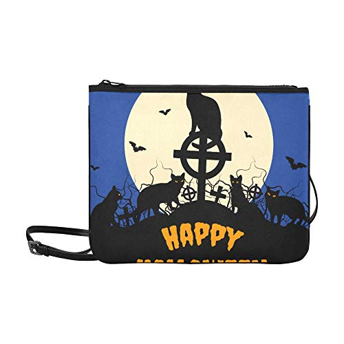 Halloween Black Cats And Full Moon Pattern Custom High-grade Nylon Slim Clutch Bag Cross-body Bag Shoulder Bag