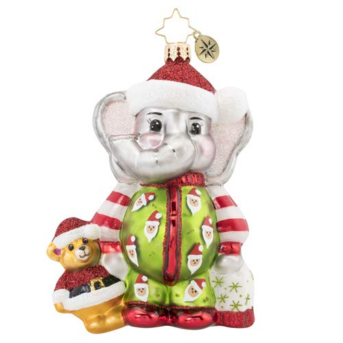 - Christopher Radko Sleep Tight Baby Elephant Christmas Ornament, Multicolor