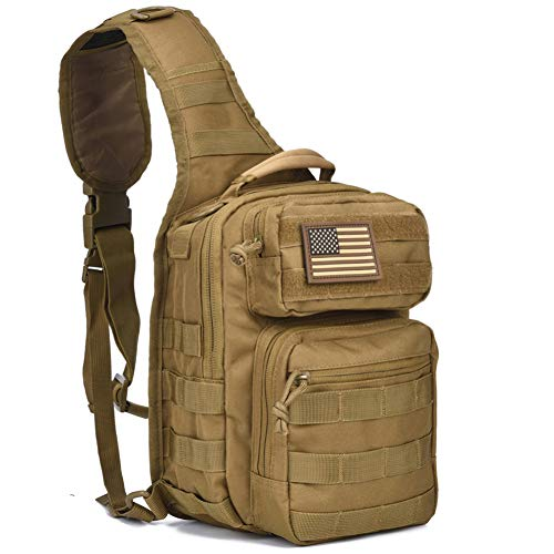 DIGBUG GEAR Tactical Sling Bag Pack Military Rover Shoulder Sling Backpack Molle Assault Range Bag Everyday Carry Diaper Bag Day Pack Tan Small