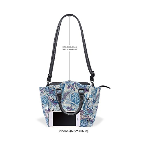 Bags Women's Flowers Shoulder TIZORAX Tote Abstract Vintage Handbags Leather vqxZw40