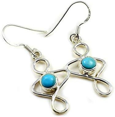 Caratyogi Runde blaue natürliche Türkis-Ohrringe für Damen, Sterlingsilber, Hakenverschluss, handgefertigter Schmuck