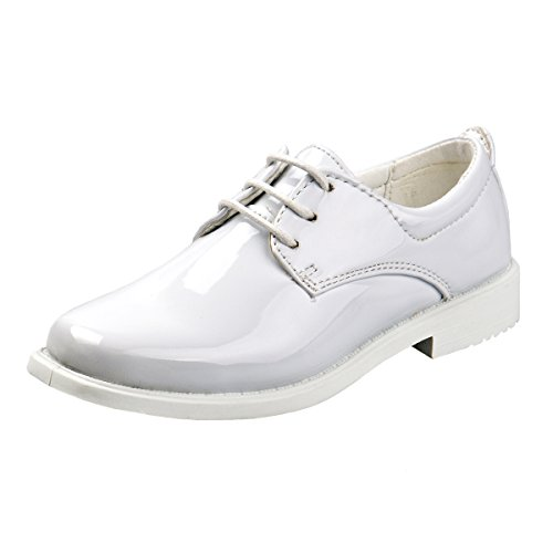 Josmo Boys Basic Oxford Casual Dress Shoe, White Patent, Size 3'