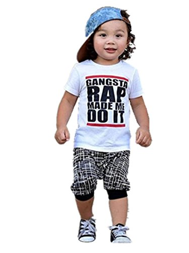 Sunward Newborn Infant Baby Boy Girl Letter Printing Short Sleeve T-Shirt Clothes Pullover Top (5T, White)