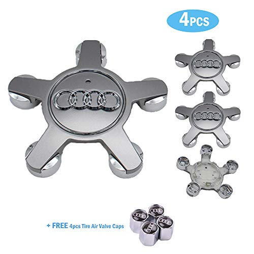 99 Carpro 4PCS Silver Wheel Center Hub Caps with Car Tire Air Valve Caps for Audi Car Styling Decoration Accessories (Silver)