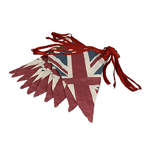 ASVP Shop Vintage British Union Jack Textile Flag Cloth Fabric Bunting Retro Banner UK 16.5 feet Long]()