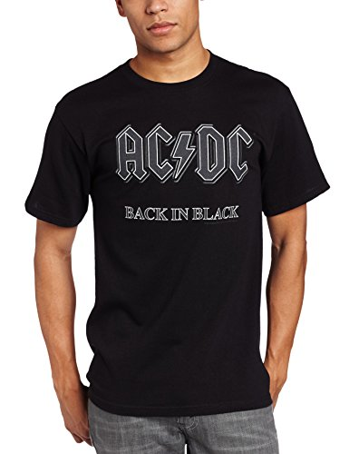 Impact Men's AC/DC Back In Black Short Sleeve T-Shirt,Black,Large (Black T-shirt Band Mens)