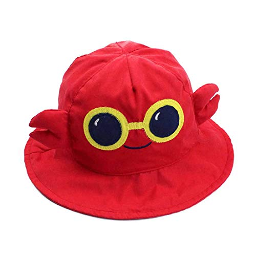 Belgius Baby Sun Hat Cute Animals Red Crab Toddler Unisex Kids Summer Play Bucket Cap with Chin Strap
