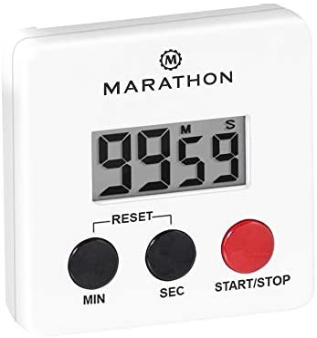 Marathon デジタルキッチン 100分タイマー – マグネット式背面スタンド付き – 電池付属 – TI080006WH-5 (ホワイト – 25個パック)