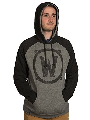 JINX World of Warcraft Men's Classic Warcraft Pullover Hoodie (Gunmetal/Charcoal, XX-Large)