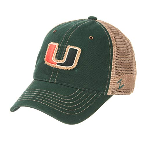 Zephyr NCAA Miami Hurricanes Men's Tatter Relaxed Cap, Adjustable, Forest -