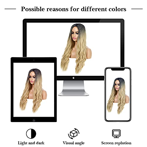 UHIBROS Long Blonde Wigs For Women Ombre Light Blonde Wavy Wigs Middle Part Natural Hair Heat Resistant Fiber Synthetic Wigs For Daily Party (26 Inch )