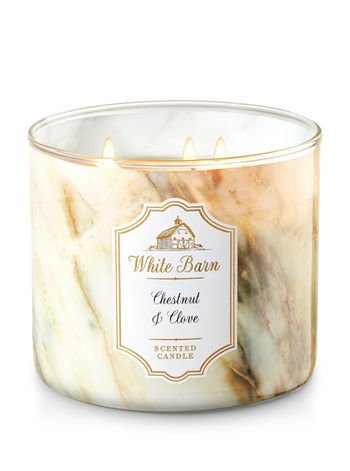 Bath and Body Works White Barn Scented Candle 3 Wick Chestnut and Clove 14.5 Ounce (Barn Candle)
