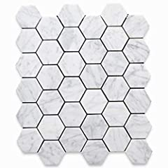 Premium Grade White Carrara Marble Hexagon Mosaic Tile. Italian Bianco Carrera White Venato Carrara Honed 2 inch Hex Mosaic Wall and Floor Tiles are perfect for any residential / commercial projects. The 2 inch Carrara White Marble Hexagonal ...