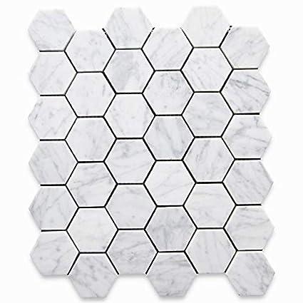 f2d30e8e3949e Carrara White Italian Carrera Marble Hexagon Mosaic Tile 2 inch Honed - -  Amazon.com
