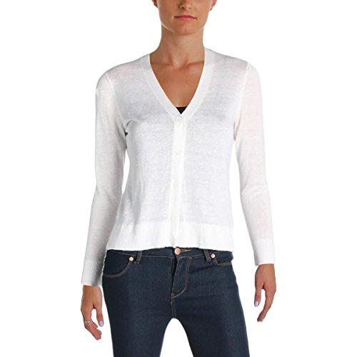 Cardigan Lauren Cashmere - LAUREN RALPH LAUREN Womens Katalina Linen Eyelet Cardigan Sweater White M