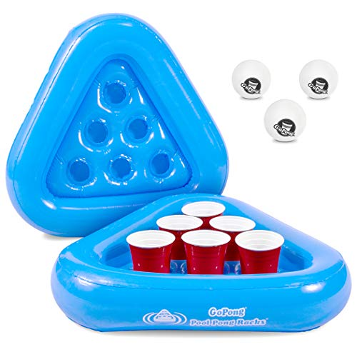 GoPong Pool Pong Rack Floating Beer Pong Set, Includes 2 Rafts and 3 Pong -