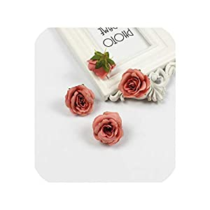 Artificial Flowers 10 Pcs 4Cm Silk Rose Artificial Flower Wedding Home Furnishings DIY Garland Leaves Crafts Simulation Fake Flowers,13 59