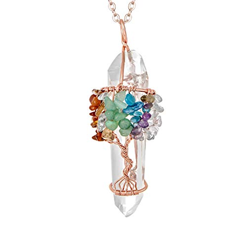 7 Chakra Gemstone Tree of Life Pendant Necklace Clear Quartz Pink Healing Crystal Handmade Rose Gold Plated Wire Wrapped Natural Stone Pendant Necklace (Clear Necklace Crystal)