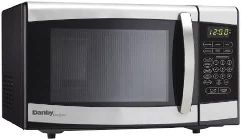 Danby Designer DMW077BLSDD Countertop Microwave, 0.7 cu.ft., Black and Stainless Steel