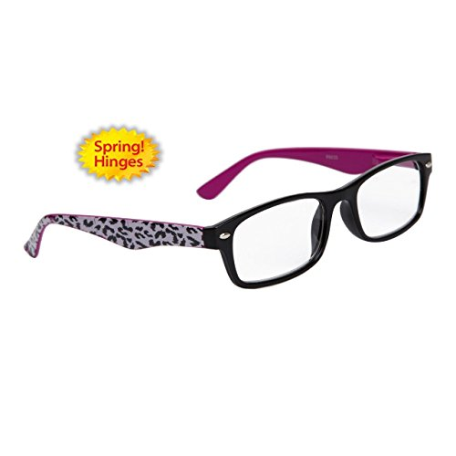 Neon Cheetah Print Temple w/ Black Frame Reading Glasses Rectangular Animal (Purple, 2.5 - Print Frames Glasses Cheetah
