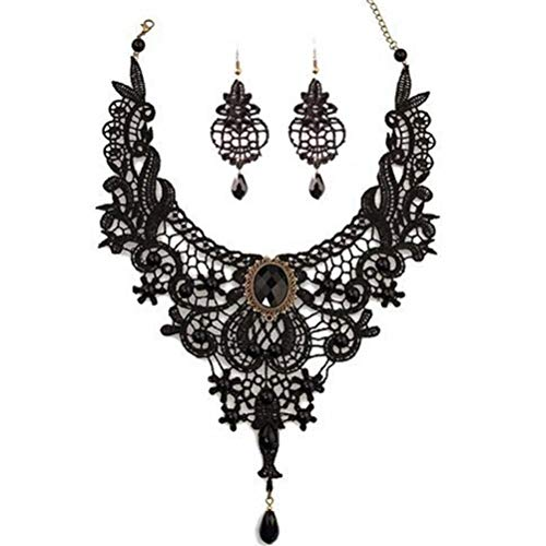 MEiySH Black Lace Gothic Lolita Pendant Choker Necklace Earrings Set (Style 001)
