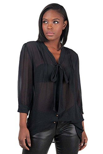 Poetic Justice Women's Black 100% Silk Georgette Front Tie Long Sleeve Blouse Size -