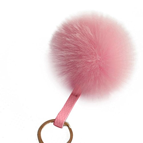 (Key Ring Franterd Novelty Rabbit Fur Ball Charm Key chain Bag Plush Car Key Pendant)