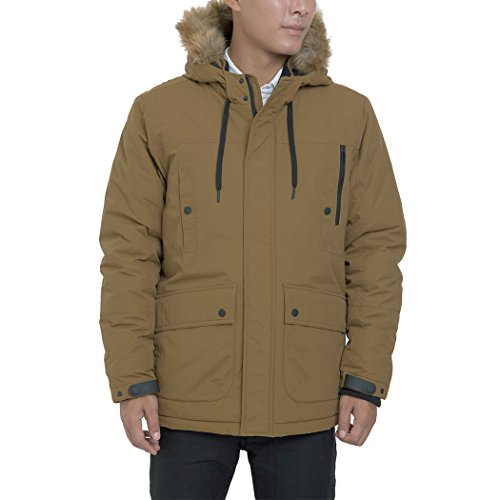 Men's Parka Water and Wind Proof Coat Zippered and Snapped Clouse Outerwear Jacket Dark Beige Large
