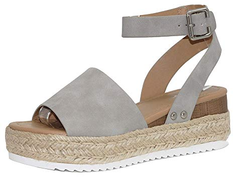 DecoStain Women's Casual Adjustable Ankle Strap Open Toe Sandals Espadrille Platform Wedge Sandals Grey