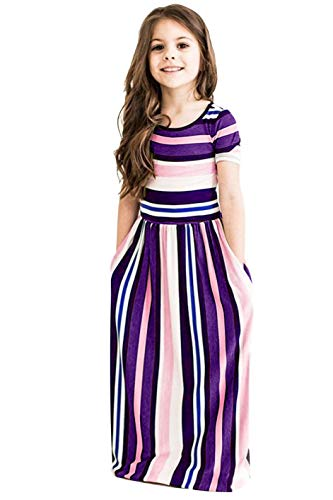 (storeofbaby Girls Short Sleeve Long Dress with Stripes Pockets Loose Maxi)