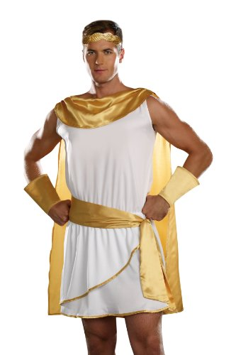 Dreamgirl Men's He's A God Costume, White, -