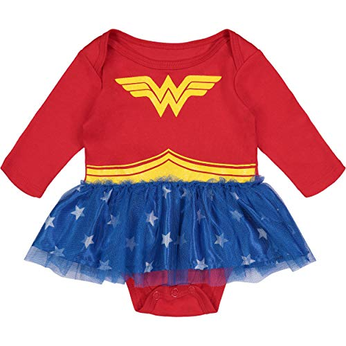 Wonder Woman Newborn Infant Baby Girls' Costume Bodysuit Dress Long Sleeves, Red, Blue & Yellow (0-3 (Newborn Infant Costume)