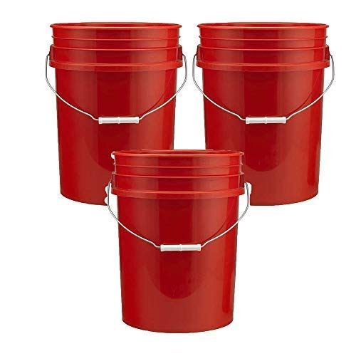 5 Gallon Plastic Buckets, Red Color | 3 Pack | HDPE Plastic | Super Heavy Duty 90 Ml ()