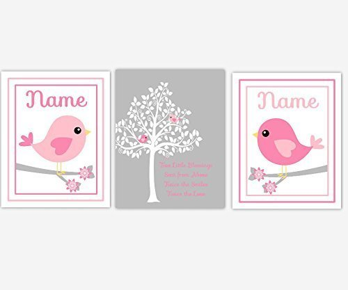 Twins Framed Print Set - Twins Baby Nursery Decor Pink Gray Bird Silhouette Tree Baby Girl Nursery Girl Nursery Wall Art Personalized Twin Quotes SET OF 3 UNFRAMED PRINTS
