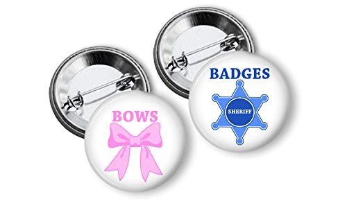 Sheriff Badges or Bows Gender Reveal Party Favors Team Buttons set of 24