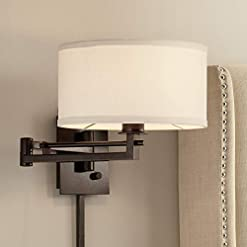 Interior Lighting Aluno Modern Swing Arm Wall Lamp Bronze Plug-in Light Fixture Ivory Cotton Blend Drum Shade for Bedroom Bedside Living… modern wall sconces