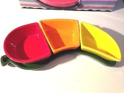 Glazed Ceramic Red Chili Pepper Shaped 3 Section Bowl Dish Tray ~ 4 Piece