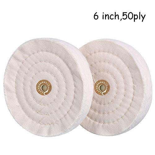 6 inch Buffing Polishing Wheel 1/2 Inch Arbor Hole for Bench Grinder 50 Ply Buffing Wheels Buffer Tool Coarse Medium Soft (2) (6 Inch Buffing Wheel For Bench Grinder)