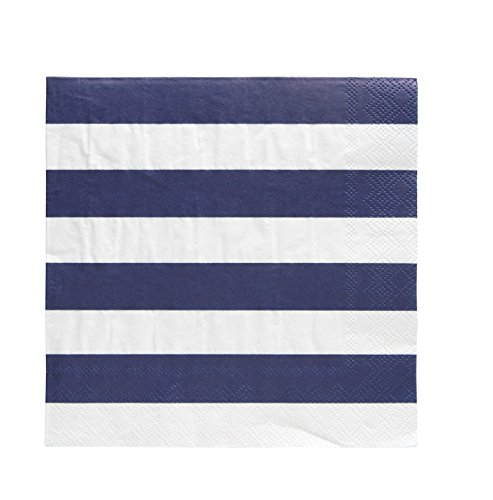 Pack of 20 Cabana Stripe Luncheon Size Paper Napkin Navy Blue 6.5